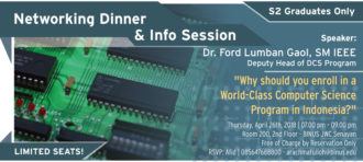 NETWORKING DINNER AND INFO SESSION Doctor of Computer Science (DCS) Program